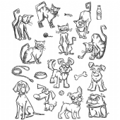 Stampers Anonymous/Tim Holtz - Cling Mount Stamp Set - Mini Crazy Cats & Dogs - CMS272
